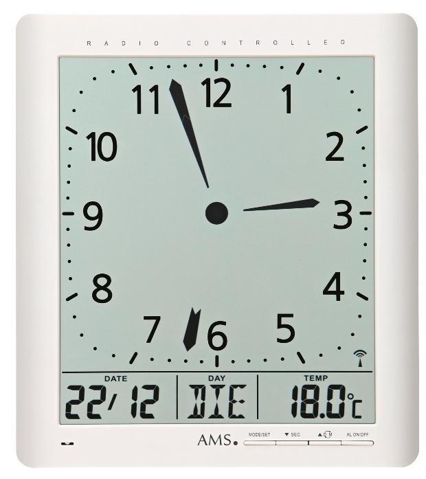 Cyfrowy Zegar ścienny I Stołowy 5896 Ams Sterowany Sygnałem
