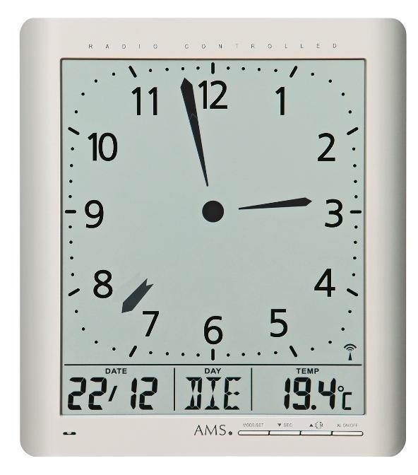 Cyfrowy Zegar ścienny I Stołowy 5898 Ams Sterowany Sygnałem